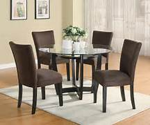 Modern Round Dining Room Set With Brown Chairs  Casual Dinette Sets