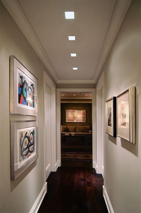 lighting idea  hallway plaster  recessed lighting