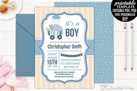 boy baby shower invitation template invitation templates