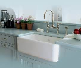 Rohl Modern Bridge Faucet by Splashy Apron Front Sink In Kitchen Contemporary With