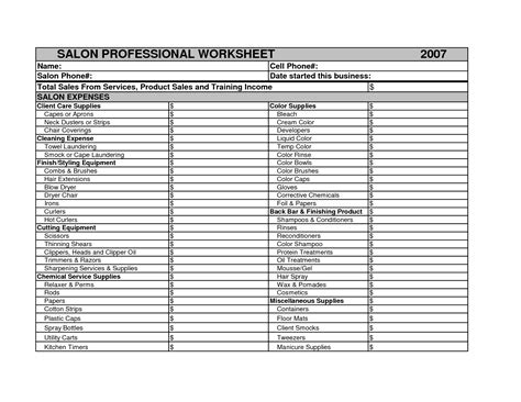 salon expenses spreadsheet db excelcom