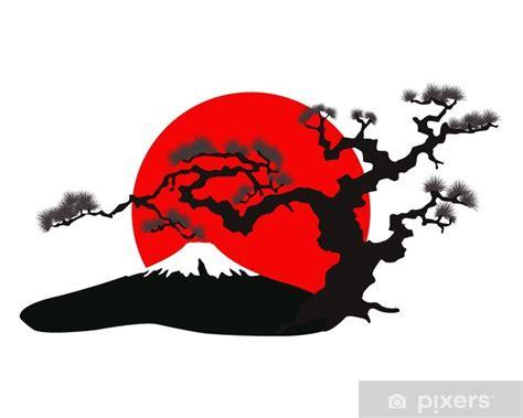 vinilo pixerstick el vector silueta del paisaje japones