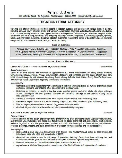 trial attorney resume exle search
