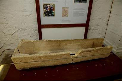 Coffin Damaged Medieval Museum Put Stone Casket