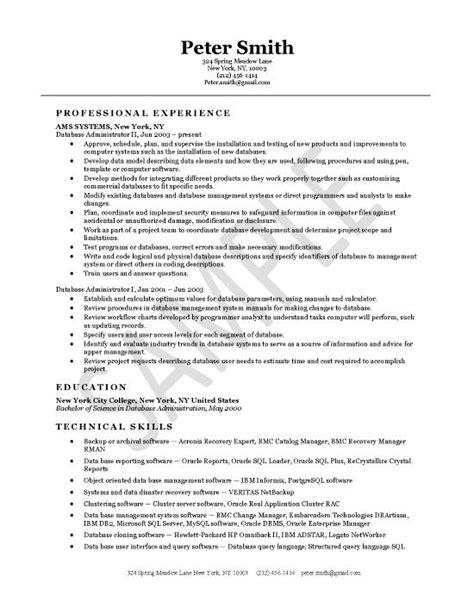 Dba Manager Resume by Database Administrator Resume Exles Sle Resume