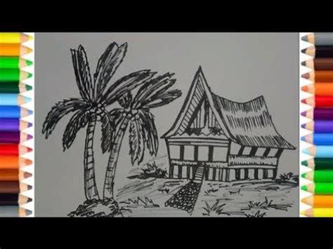 kumpulan contoh sketsa gambar rumah adat gadang