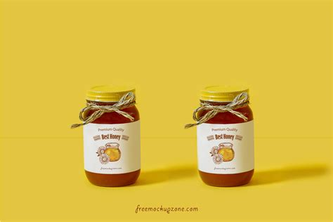 Free Honey Bottle Label Mock up Psd For Packaging