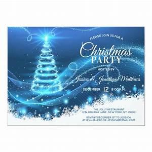 Christmas Party Blue Twinkle Lights Snow Tree Invitation