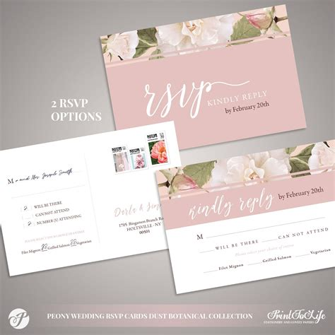 Peony Wedding RSVP Card Dusty Pink Botanical Collection