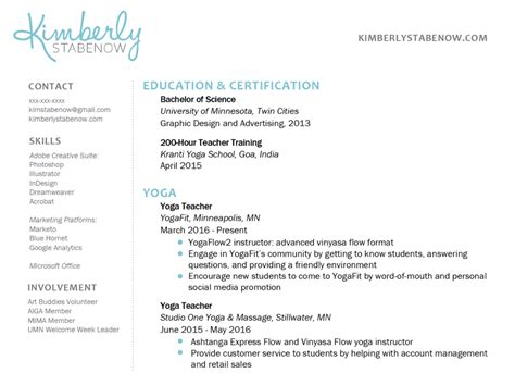 create  perfect yoga teacher resume  yoga