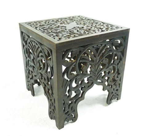 hand carved end tables beautiful brown white square hand carved indian wooden