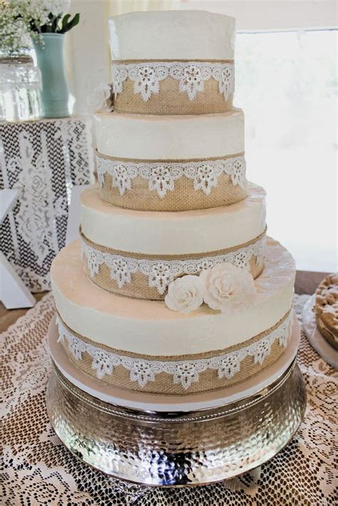 Burlap And Lace Wedding Cake Wedding Cakes Wedding Cake