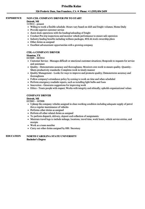 Company Resume by Company Driver Resume Sles Velvet