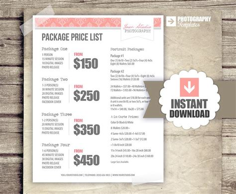 free pricing template for photographers photography price list pricing list for photographers