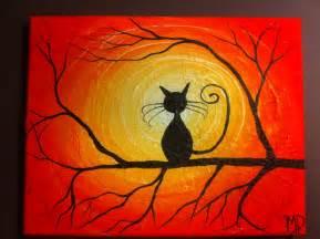 Halloween Cat Acrylic Painting