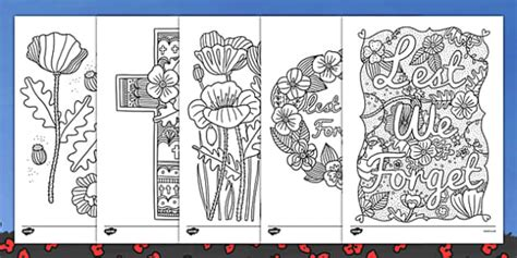remembrance day ks themed mindfulness colouring sheets