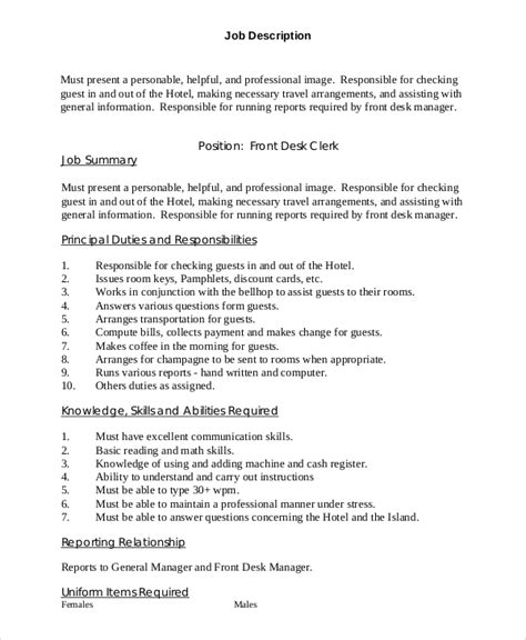 Front Desk Clerk Resume Skills by General Manager Description Car Dealership General