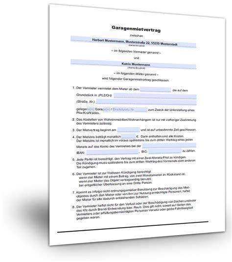 Mietvertrag Muster Garage (kostenloser Download