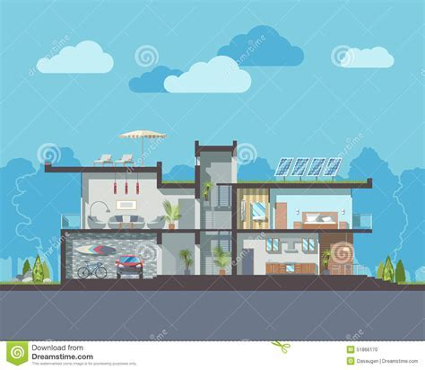 Modern House Section Stock Vector   Image: 51866170