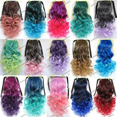 colorful hair extensions clip in ombre ponytail colorful hair colored curly