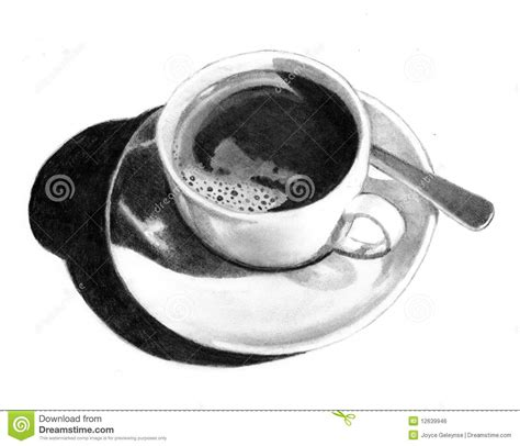 Pencil Drawing Of Cup Of Coffee Royalty Free Stock Image   Image: 12639946