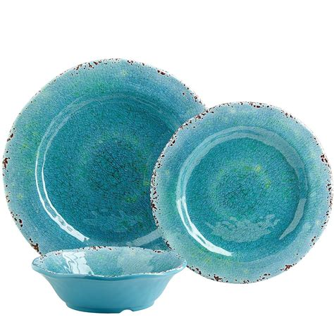 dinnerware melamine turquoise outdoor dishes aqua carmelo sets plates stoneware dinner lightweight pier italian sea plastic beach imports collection camping