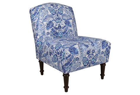 clark slipper chair blue damask accent from one
