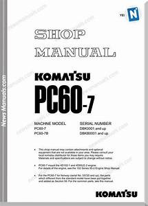 Komatsu Pc60 7 Shop Manual Yebm 200600 In 2020