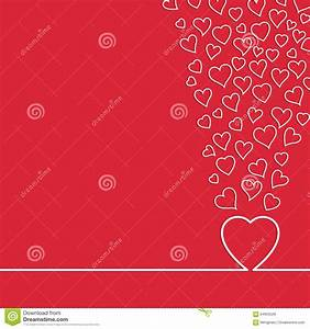 Simple White Heart Strokes On Red Background Stock Vector ...