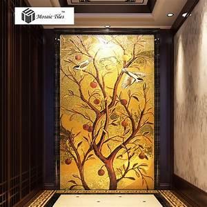 handmade golden parquet mosaic murals tile lucky birds With parquet mural