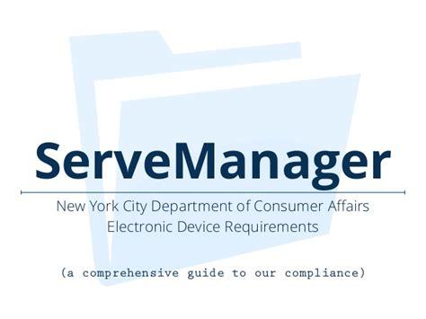 bureau of consumer affairs servemanager york city department of consumer affairs