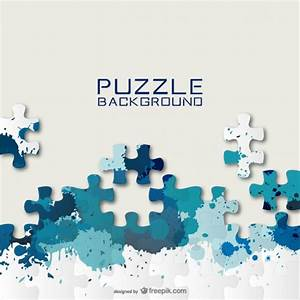 Blue puzzle pieces and paint splashes background Vector ...