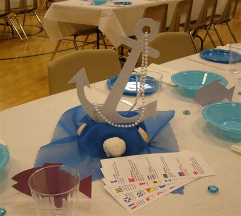 Table Decoration - Ocean Cruise Theme Upside Down Styrofoam Bowl Covered With Fabric For Base ...