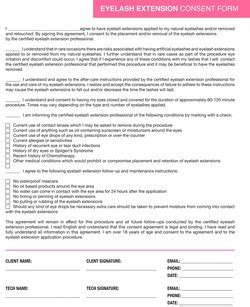 eyelash extension waiver form eyelash extension consent form