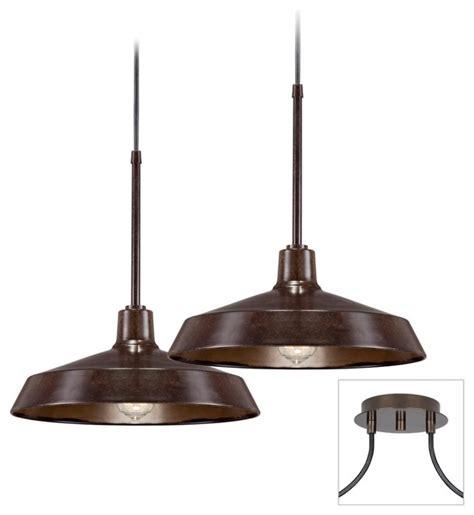 industrial 2 light tiger bronze multi light pendant