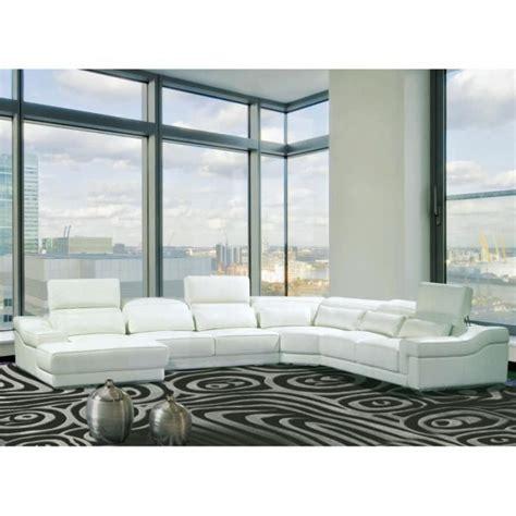canapé panoramique canapé d 39 angle droit panoramique cuir blanc achat vente