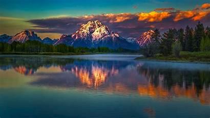 Wyoming Nature Landscape Mountains Teton National Grand