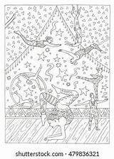 Circus Trapeze Coloring Artist Colouring Shutterstock Artists Vectors Illustrations sketch template