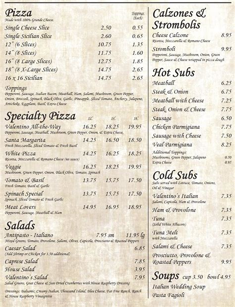 menu for valentino s italian cuisine 427 s federal hwy