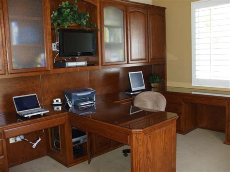 Cabinets For Home Office: Built In Desk With Bookshelves