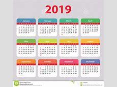Calendar 2019 Week Starts On Sunday, Basic, Colorful