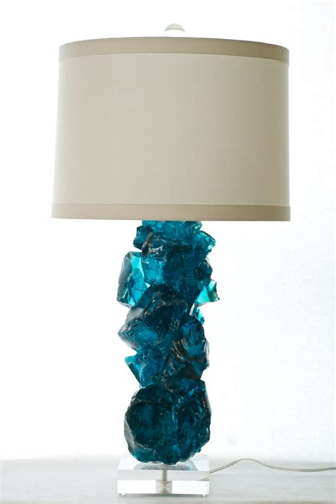 Table Lamps Silver by Slag Glass Lamp