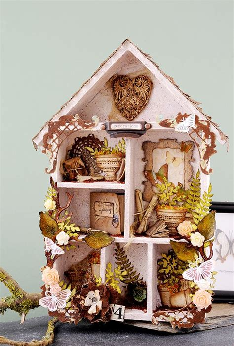 stunning assemblage   house shaped shadow box