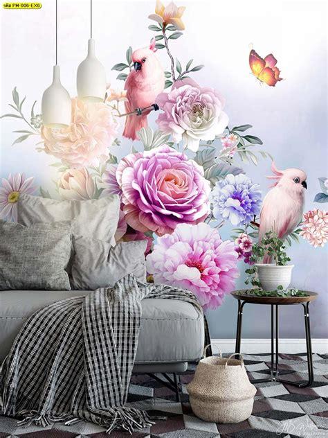 วอลเปเปอร์สั่งพิมพ์ลายดอกไม้โทนหวานๆ