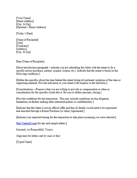 Offer Letter Of Intent by Free Letter Of Intent Template Sle Letters Of Intent