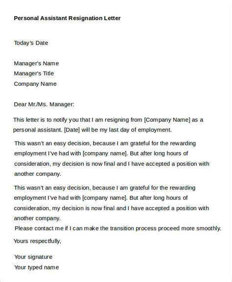 sample personal resignation letters  sample