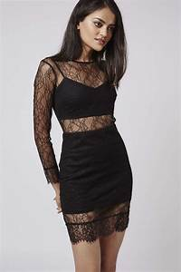 Topshop Petite Lace Layer Dress in Black | Lyst