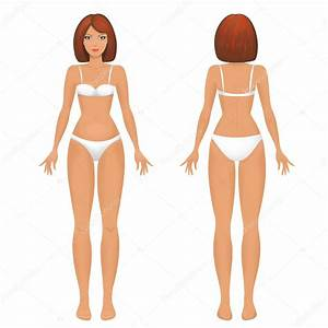 Female Body Template Front And Back   U2014 Stock Vector
