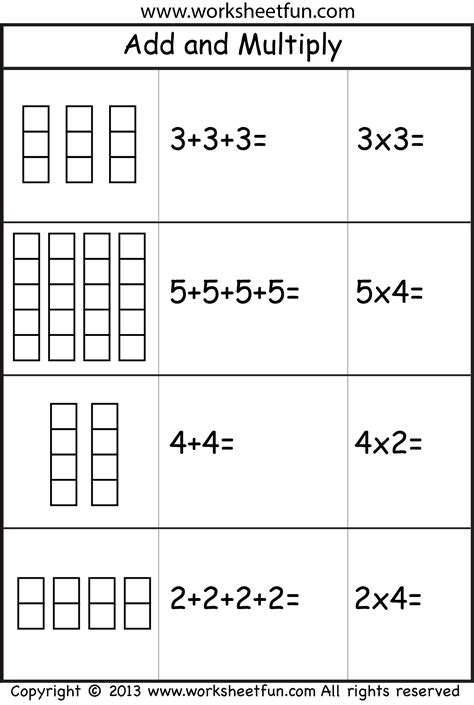 repeated multiplication worksheets multiplication add and multiply repeated addition two