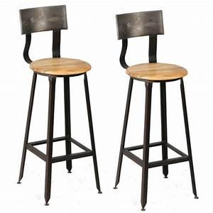Chaise Bar Bois : tabourets de bar en bois et metal avec dossier moins cher ~ Teatrodelosmanantiales.com Idées de Décoration